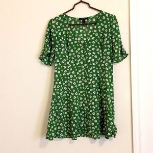 Green and white floral dress!